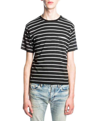 Striped Jersey Tee, Black/Gray