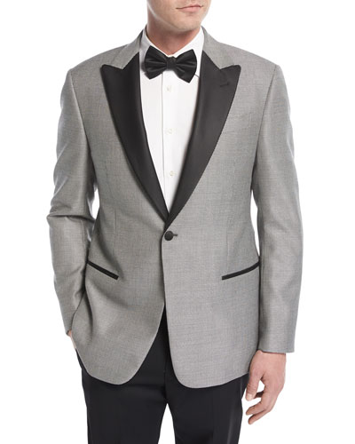Textured Peak-Lapel Dinner Jacket, Black/White