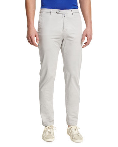 Flat-Front Chino Trousers, Stone