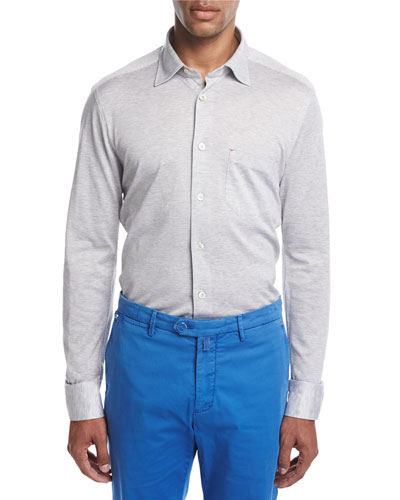 PIqué Knit Button-Front Shirt, Heather Gray