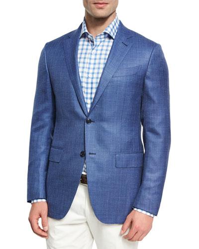 Textured Wool-Silk-Linen Two-Button Sport Coat, Blue