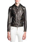 Star-Painted Distressed Leather Moto Jacket, Black