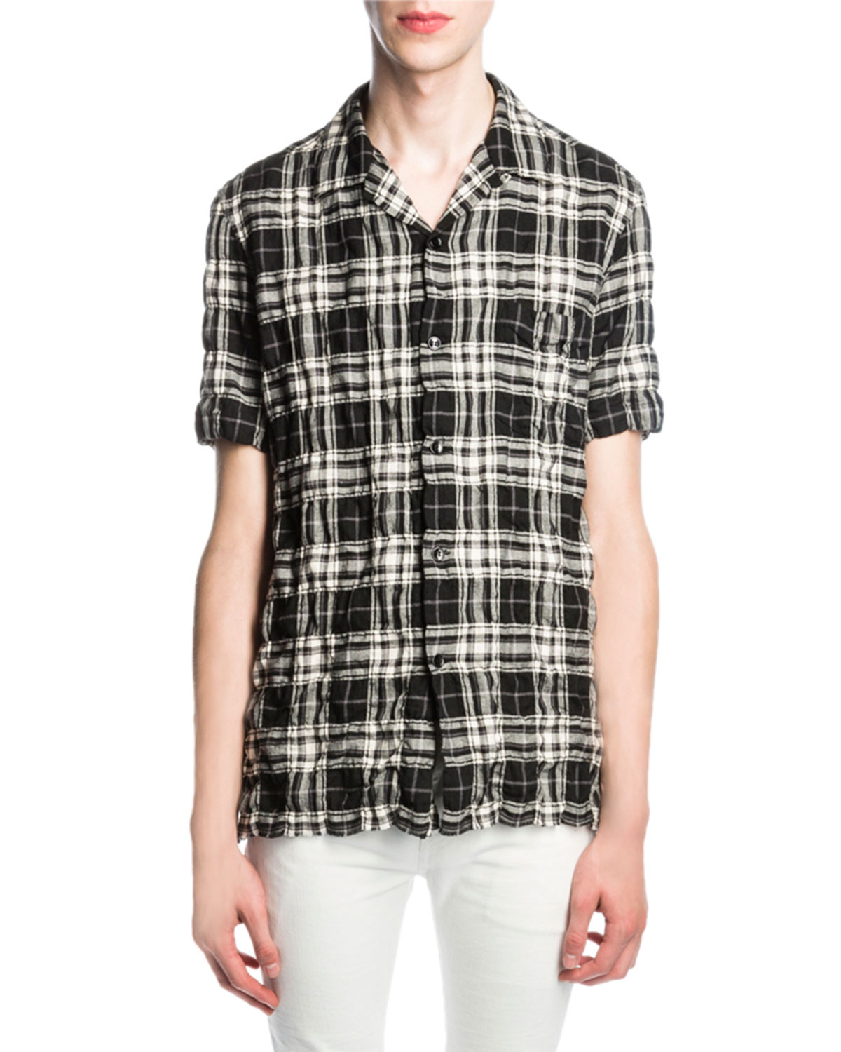 Plaid Button-Front Shirt, Black/White