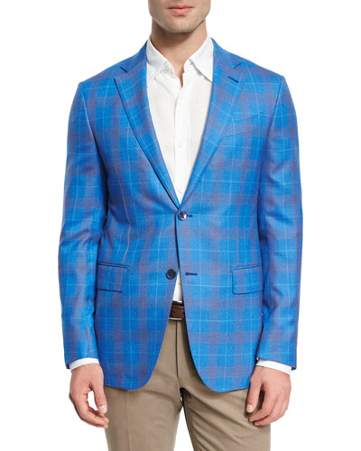 Plaid Wool Two-Button Sport Coat, Blue/Rust