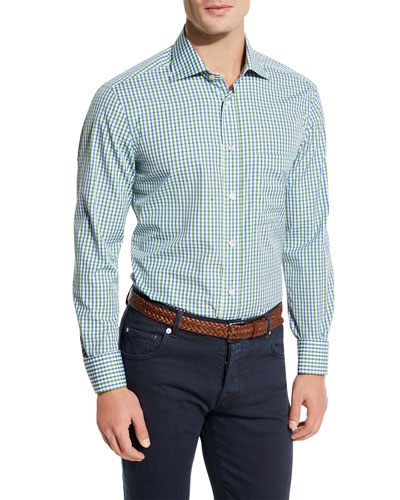 Check Pocket Sport Shirt, Green/Blue