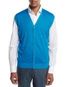 Cashmere-Silk V-Neck Cardigan Vest, Aqua (Blue)