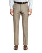 Sharkskin Wool Flat-Front Trousers, Tan