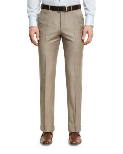 Sharkskin Wool Flat-Front Trousers, Tan