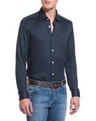Long-Sleeve Pique Sport Shirt, Navy