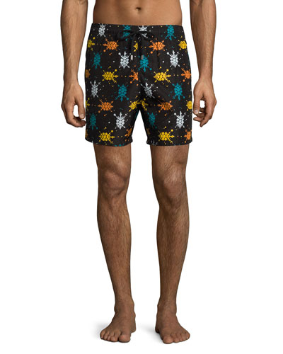 Mahina Sushi Japan Turtles Swim Trunks, Black