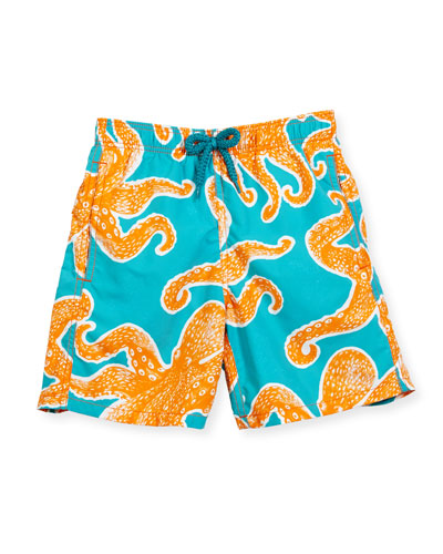 Jim Octopus Printed Swim Trunks, Blue/Orange, Boys' 2-8