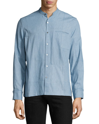 Crosby Denim Patchwork Shirt, Light Indigo