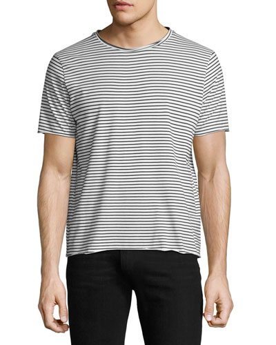 Modal Raw-Edge Striped T-Shirt, Black/White