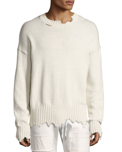 Distressed Oversized Sweater, Ivory