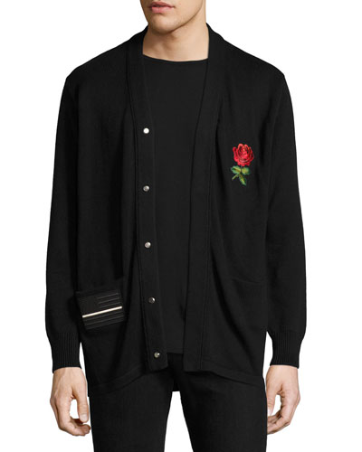 Paradise Embroidered Patch Cardigan, Black