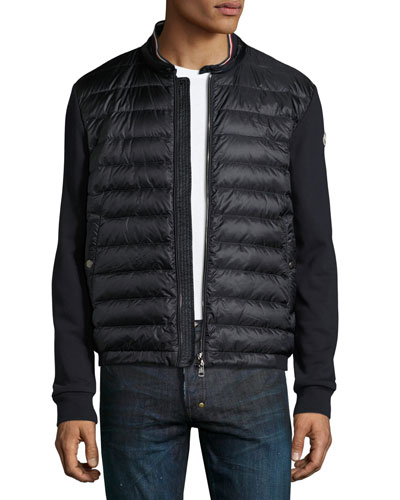 Zip-Front Jacket w/Down Front, Navy