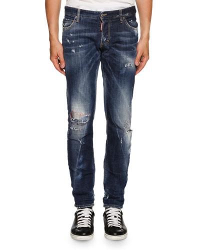 Slim-Fit Micro-Stitch Distressed Jeans, Blue