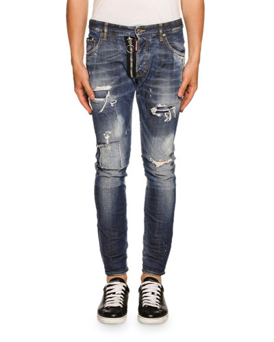 Skater Zip-Detail Love Wash Jeans, Blue