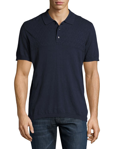 Cotton-Cashmere Diamond-Jacquard Polo Shirt, Navy
