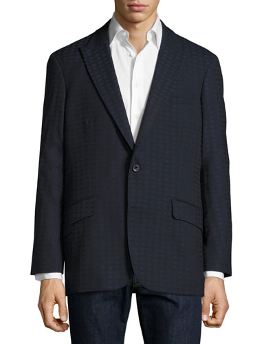 Grissom Alien Jacquard Two-Button Sport Coat, Black