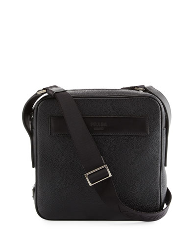 Men's Leather Crossbody Messenger Bag, Black
