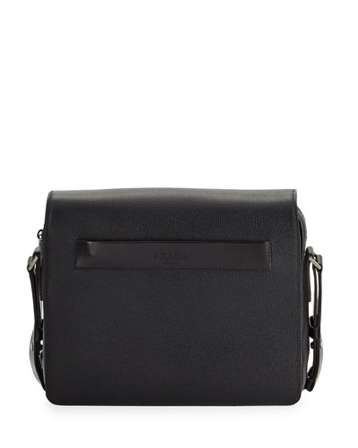Men's Leather Messenger Bag, Black