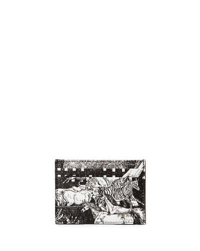 Saffiano Animal Kingdom Card Case, Black/White