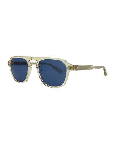 Grayson 50 Aviator Sunglasses, Champagne/Blue