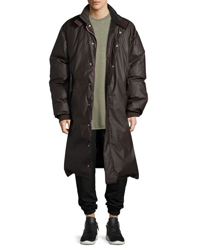Waxed Cotton Down Parka Coat, Black