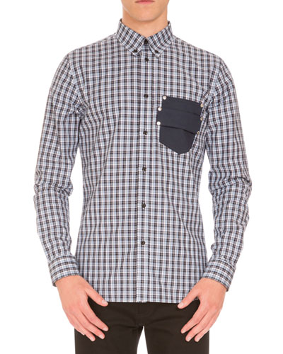 Plaid Sport Shirt w/Logo Pocket, Navy