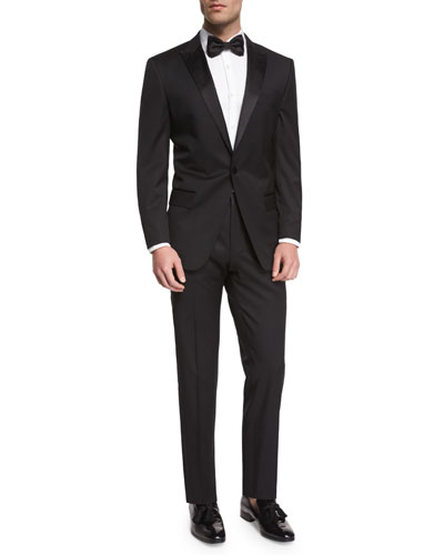 Huge Genius Peak-Lapel Slim Tuxedo, Black