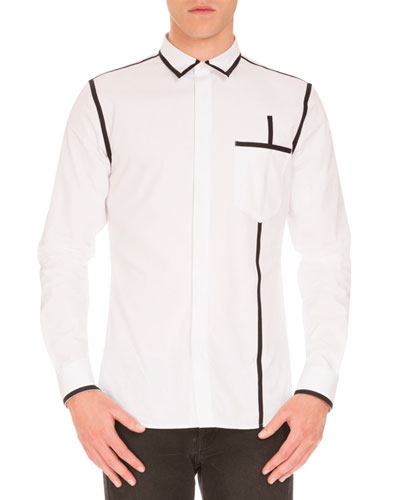Woven Shirt w/Contrast Piping, White/Black