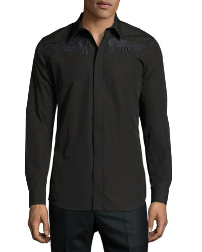 Wing-Embroidered Woven Shirt, Black