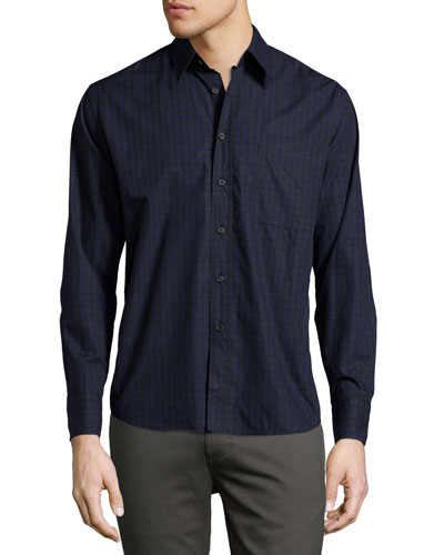 Tuscumbia Box-Check Oxford Shirt, Black/Blue