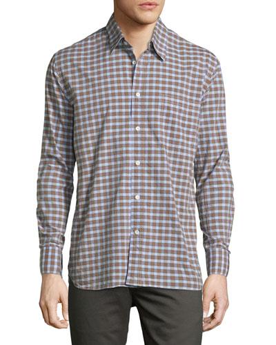 John Check Oxford Shirt, Brown/Blue