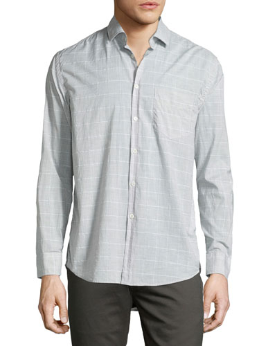 John Windowpane Oxford Shirt, Gray/White