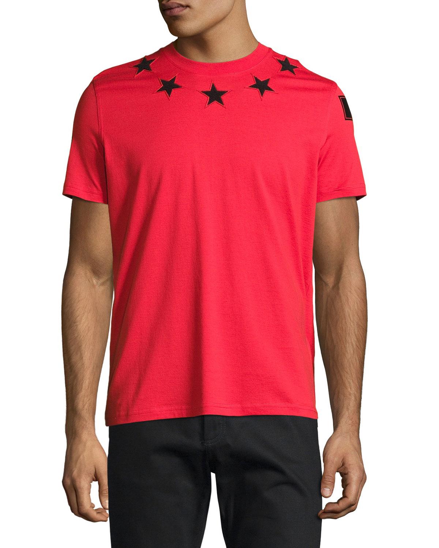 Cuban-Fit Star-Appliqué T-Shirt, Red