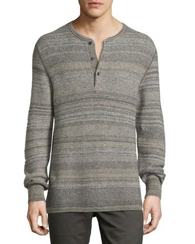 Striped Henley Sweater, Gray