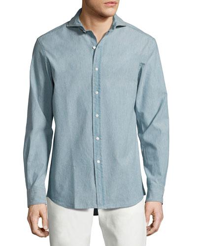 Chambray Sport Shirt, Light Blue