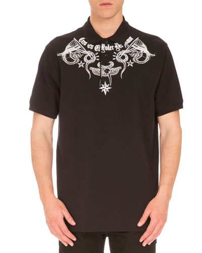 Columbian-Fit Tattoo-Print Polo Shirt, Black