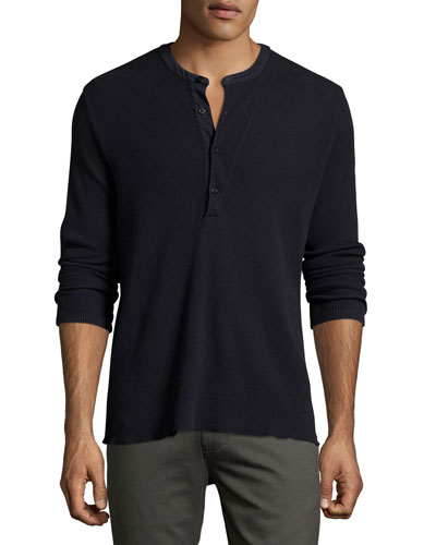 Hudson Ribbed Henley T-Shirt, Navy