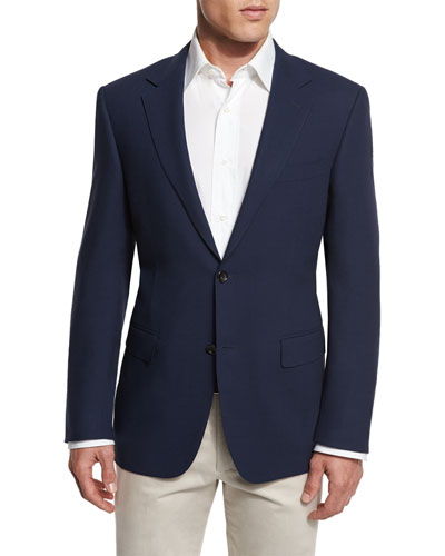 New Basic Hopsack Two-Button Sport Coat, High Navy
