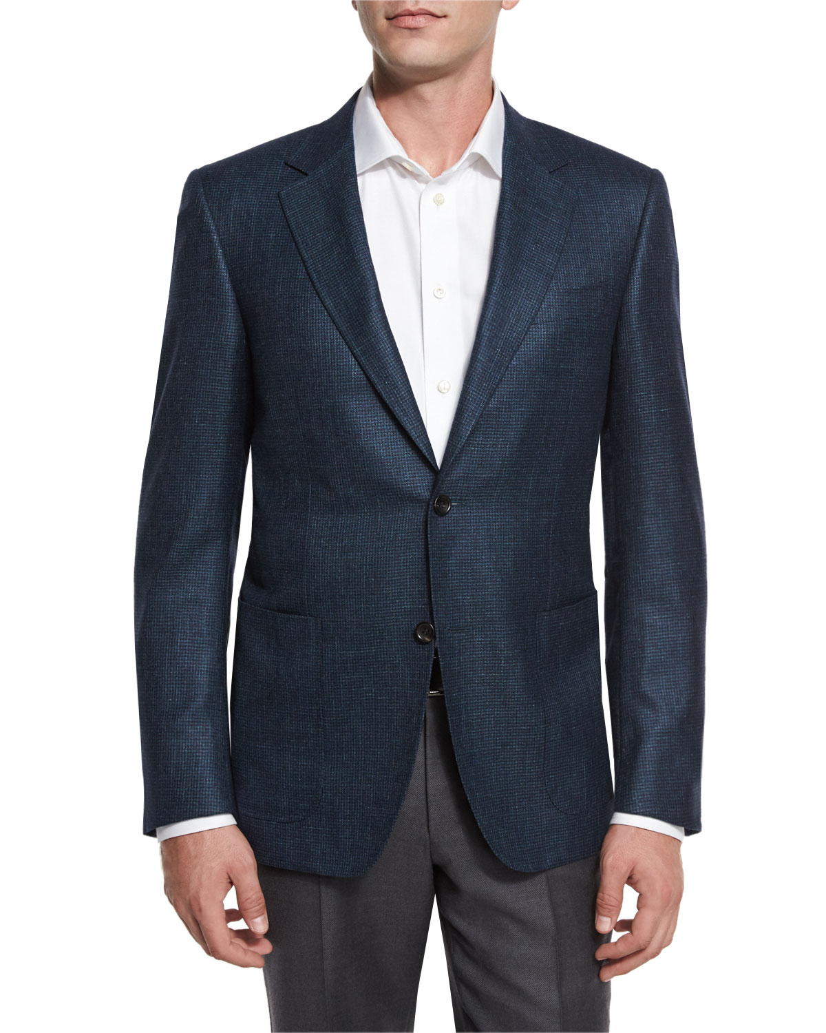 Houndstooth Two-Button Sport Coat, Aqua/Navy