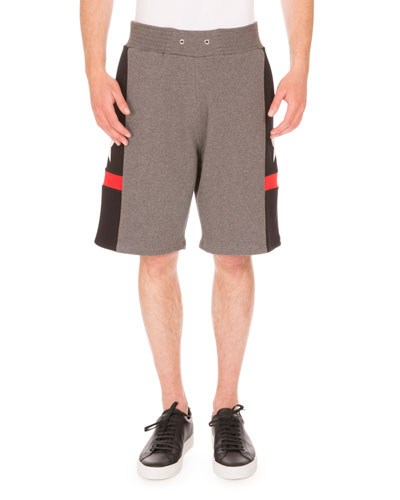 Star-Print Paneled Sweat Shorts, Gray