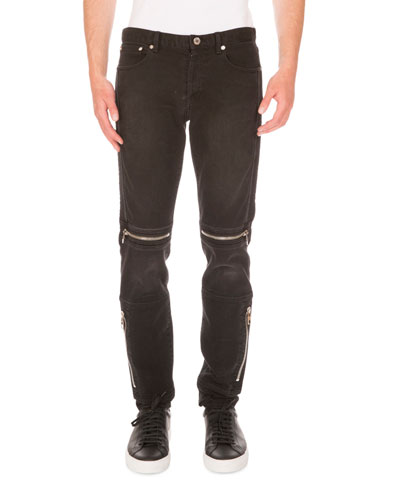 Moto Straight-Leg Denim Jeans, Black