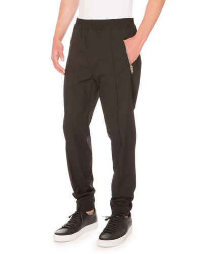 Zip-Pocket Jogger Pants, Black
