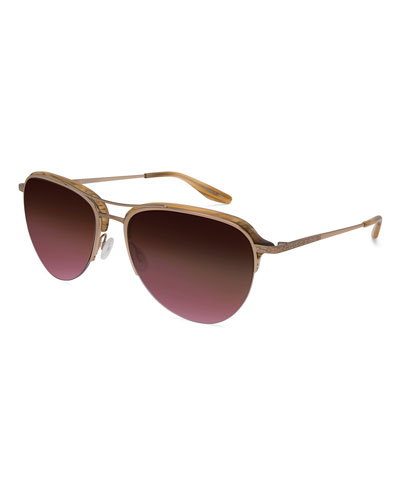 Airman Half-Rim Aviator Sunglasses, Horn/Rose Golden