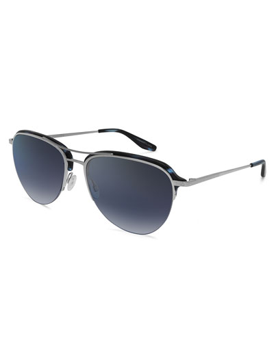 Airman Half-Rim Aviator Sunglasses, Midnight/Silver
