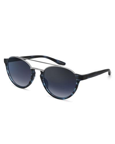 Boleyn Half-Rim Acetate & Titanium Sunglasses, Midnight/Silver