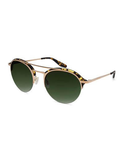 Men's Beauregard Round Acetate & Titanium Sunglasses, Heroine Chic/Gold/Julep